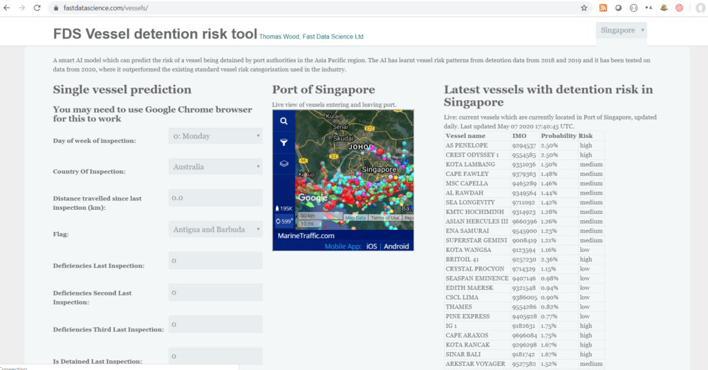 A machine learning model running in a web interface to predict vessel detention risk
