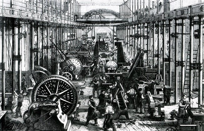 A factory in the original Industrial Revolution