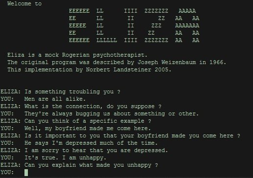ELIZA was an early natural language processing application.