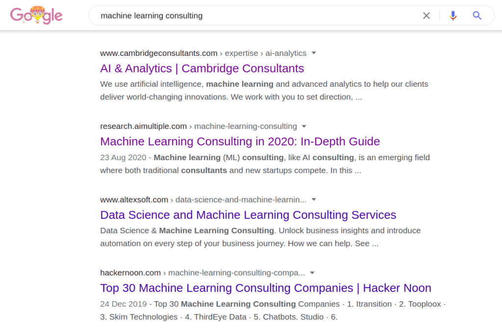 Google results for machine learning consulting