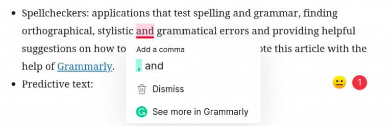 Screenshot of NLP software Grammarly correcting my grammar as I wrote this article.